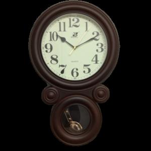 2751 שעון קיר מטוטלת דמוי עץ- מספרים גדולים