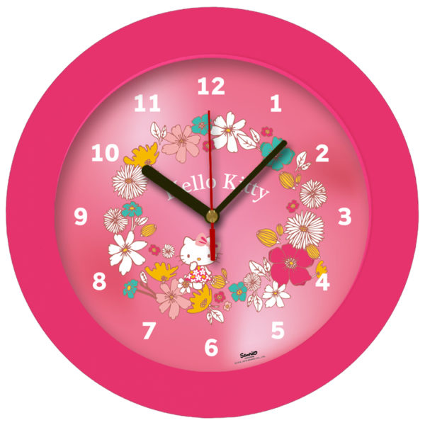 98105-HK flower שעון קיר מחוגים לילדים הלו קיטי עם פרחים