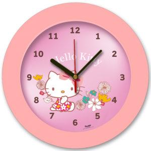98105-HK flower2 שעון קיר מחוגים לילדים הלו קיטי פרחים