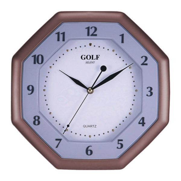 שעון קיר מתומן גולף שקט SILENT LX-1700-brown