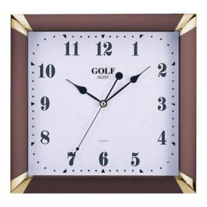 שעון קיר שקט מדגם מרובע גולף ME-1700-brown