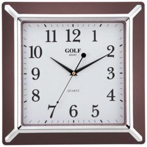 שעון קיר מדגם גולף מרובע חום כסף PW012-1700-brown