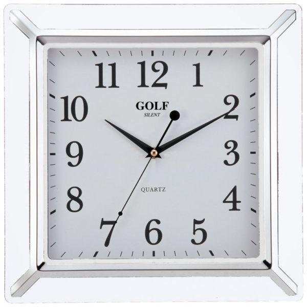 שעון קיר מדגם גולף מרובע בצבעי אם הפנינה PW012-1700-pearl