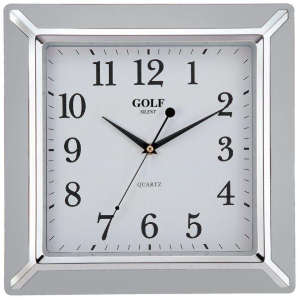 שעון קיר מדגם גולף מרובע בצבע כסף