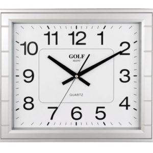שעון קיר מדגם גולף מרובע שקט כסוף PW033-1700-silver