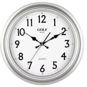 שעון קיר שקט מדגם גולף כסוף PW034-1700-silver