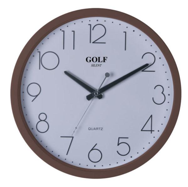 שעון קיר מדגם גולף שקט מסגרת חומה דקה PW077-1700-brown