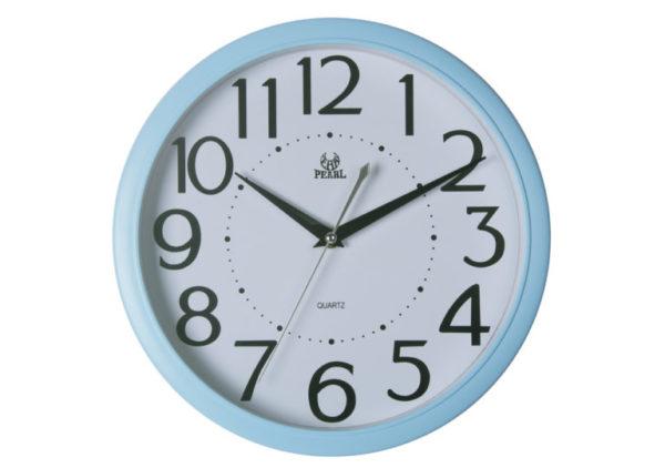 שעון קיר מדגם גולף שקט מספרים גדולים מסגרת תכלת PW332-1700-5