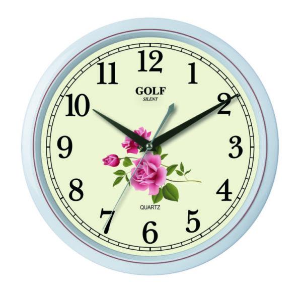 שעון קיר מדגם גולף שקט דקורציה פרחים 2606