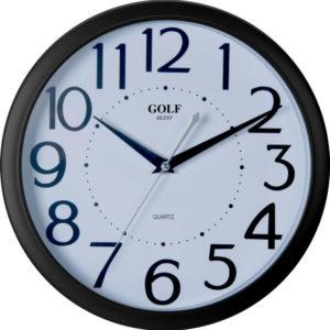 שעון קיר מדגם גולף שקט מסגרת שחורה ומספרים גדולים