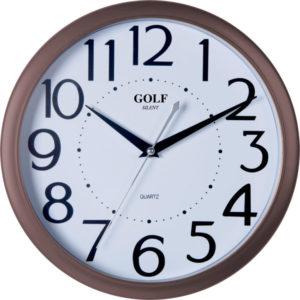 שעון קיר מדגם גולף מסגרת חומה ומספרים גדולים PW332-1700-brown