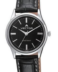 שעון יד מדגם VECTOR V8-1015185 black רצועות עור שחורות אלגנטי