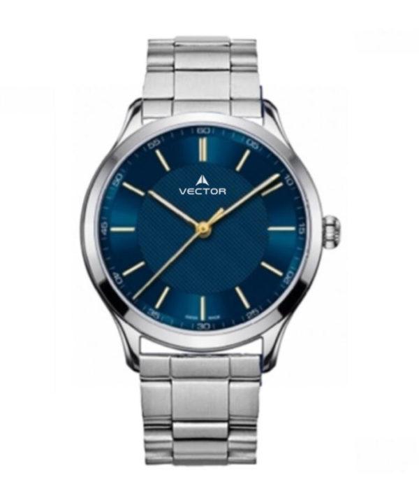 שעון יד מדגם VECTOR V8-109413 blue1, שעון יד מטאל כסוף עם רקע כחול גברי Престижные наручные часы от Golf Watches. Бренд vector для роскошных наручных часов в Израиле