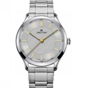 שעון יד מדגם VECTOR V8-109413 silver, שעון יד סגנון מטאל כסוף ומחוגים זהובים Престижные наручные часы от Golf Watches. Бренд vector для роскошных наручных часов в Израиле
