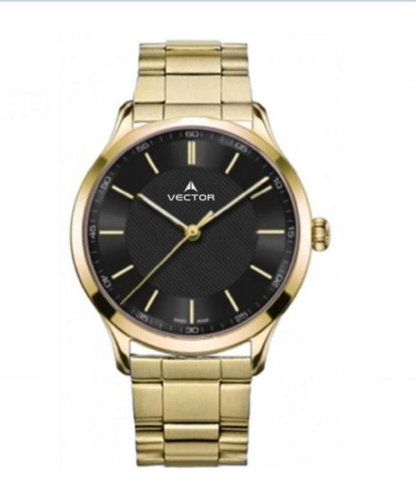 שעון יד מדגם VECTOR V8-109493 black1, שעון יד עם רצועות מטאל מוזהבות ורקע שחור. לגבר המהודר Престижные наручные часы от Golf Watches. Бренд vector для роскошных наручных часов в Израиле