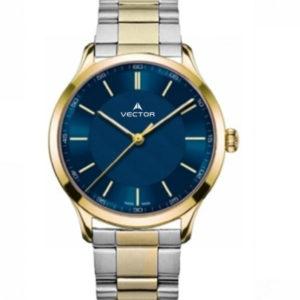 שעון יד מדגם VECTOR V8-109493 blue1, שעון יד מטאלי גברי עדין עם לולאות סטיינלס ורקע כחול עמוק Престижные наручные часы от Golf Watches. Бренд vector для роскошных наручных часов в Израиле