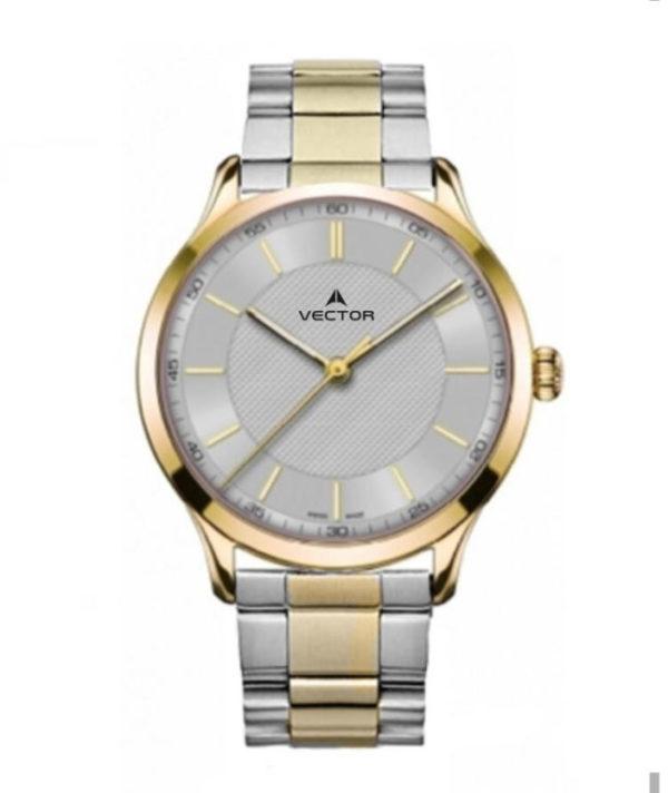 שעון יד מדגם VECTOR V8-109493 silver1, שעון יד מטאל קלאסי בשילוב כסף וזהב, לולאות סטיינלס סטיל Престижные наручные часы от Golf Watches. Бренд vector для роскошных наручных часов в Израиле