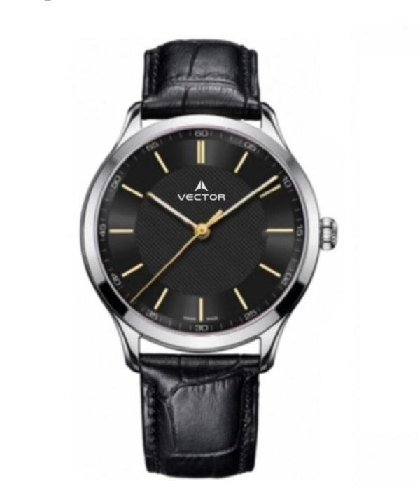 שעון יד מדגם VECTOR V8-109513 black1, שעון יד עם רצועות עור מוחלקות בשילוב שחור וכסף Престижные наручные часы от Golf Watches. Бренд vector для роскошных наручных часов в Израиле