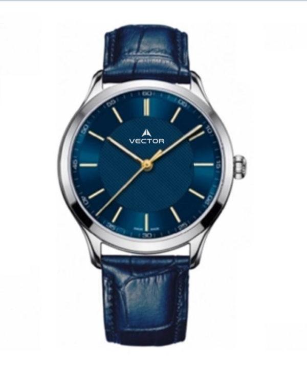 שעון יד מדגם VECTOR V8-109513 blue1, שעון יד עם רצועות עור מוחלקות בצבע דיפ בלו Престижные наручные часы от Golf Watches. Бренд vector для роскошных наручных часов в Израиле