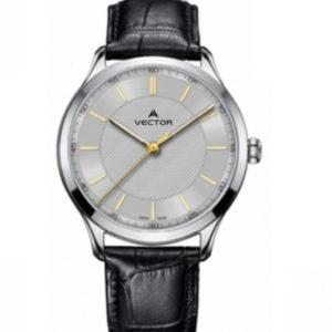 שעון יד מדגם VECTOR V8-109513 silver1, שעון יד עם רצועות עור בסטייל מוחלק שחור כסוף Престижные наручные часы от Golf Watches. Бренд vector для роскошных наручных часов в Израиле