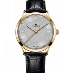 שעון יד מדגם VECTOR V8-109593 silver1, שעון היד עם רצועות עור שחורות מוחלקות, מסגרת זהובה ורקע כסוף Престижные наручные часы от Golf Watches. Бренд vector для роскошных наручных часов в Израиле