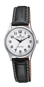 שעון יד מדגם VECTOR V9-1015175 white רצועות עור שחורות ורקע לבן