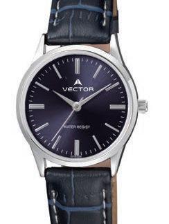 שעון יד מדגם VECTOR V9-1015183 blue, שילוב רצועות שחורות, רקע כחול ומסגרת ומחוגים כסופים