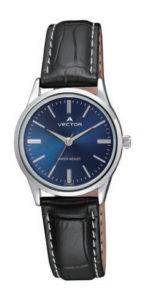 שעון מדגם VECTOR V9-1015185 blue, שעון יד קלאסי יוקרתי רצועות עור שחורות ורקע כחול Престижные наручные часы от Golf Watches. Бренд vector для роскошных наручных часов в Израиле