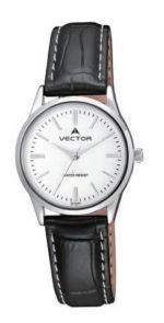 שעון מדגם VECTOR V9-1015185 white, שעון יד קלאסי עם רצועות עור שחורות וגוונים כסוף-לבן Престижные наручные часы от Golf Watches. Бренд vector для роскошных наручных часов в Израиле