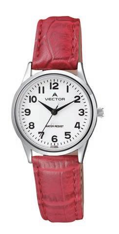 שעון מדגם VECTOR V9-1015771 white, שעון יד רצועות עור אדומות ורקע לבן Престижные наручные часы от Golf Watches. Бренд vector для роскошных наручных часов в Израиле