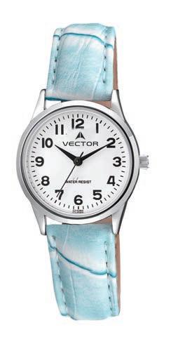 שעון יד מדגם VECTOR V9-1015773 white, שעון יד עם רצועות עור תכלת. עיצוב מודרני קלאסי Престижные наручные часы от Golf Watches. Бренд vector для роскошных наручных часов в Израиле