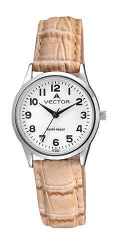 שעון יד מדגם VECTOR V9-1015774 white, שעון יד עם רצועות עור גוון חום קלאסי עתיק Престижные наручные часы от Golf Watches. Бренд vector для роскошных наручных часов в Израиле