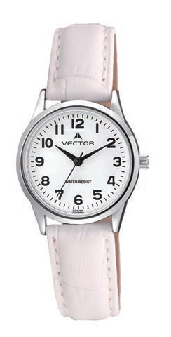 שעון יד מדגם VECTOR V9-1015776 white, רצועות עור בגוון לבן-קרם ועיצוב בהיר קלאסי כולל Престижные наручные часы от Golf Watches. Бренд vector для роскошных наручных часов в Израиле