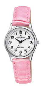שעון יד מדגם VECTOR V9-1015777 white, שעון יד מתוק לילדות עם רצועות עור בצבע 'ורוד מסטיק' Престижные наручные часы от Golf Watches. Бренд vector для роскошных наручных часов в Израиле