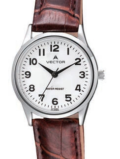 שעון יד מדגם VECTOR V9-1015778 white, שעון יד 'הכי קלאסי', רצועות עור חומות ועיצוב שעון פנים אלגנטי Престижные наручные часы от Golf Watches. Бренд vector для роскошных наручных часов в Израиле