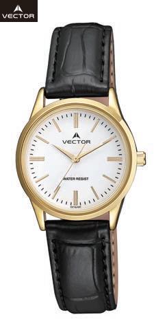 השעון יד מדגם VECTOR V9-101598 white, רצועות עור שחורות בשילוב מיוחד של מסגרת ומחוגים זהובים על רקע לבן белые наручные часы, черные кожаные ремешки с особым сочетанием оправы и золотые стрелки на белом фоне