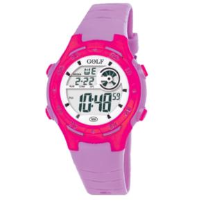 201L שעון יד ורוד עם רצועות סגולות לילדים מדגם גולף