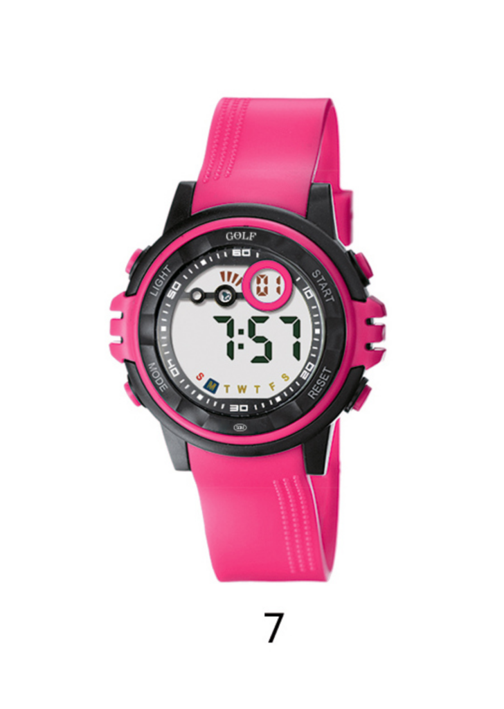 8573120P שעון יד ורוד עם מסגרת שחורה מתוק לילדים מדגם גולף