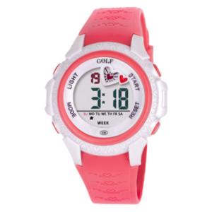 8576122PHEART שעון יד ורוד עם עיטור לב מקסים לילדים, מדגם גולף