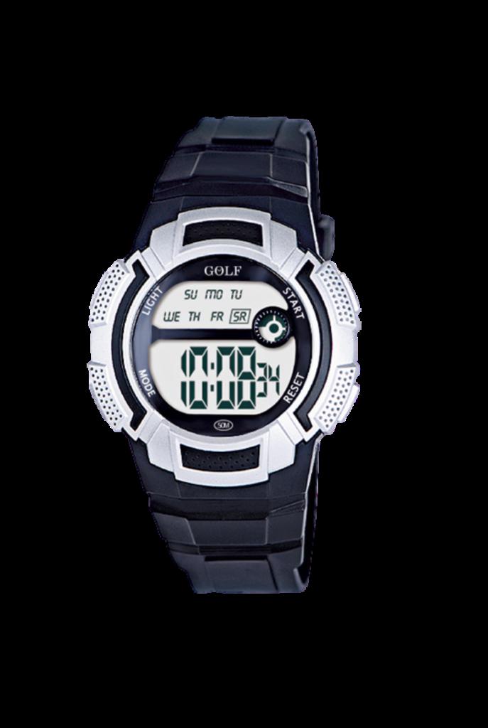 8565112BL שעון יד שחור כסוף לילדים, מדגם גולף