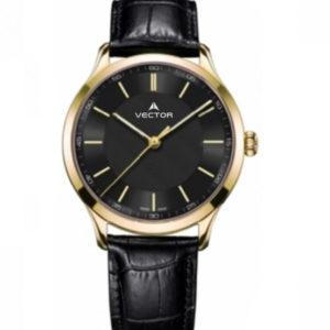 שעון יד מבית VECTOR, בעל רצועות עור שחורות מוחלקות, דגם V8-109593 black1 Престижные наручные часы от Golf Watches. Бренд vector для роскошных наручных часов в Израиле