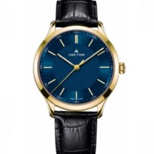 שעון יד מבית VECTOR, בעל רצועות עור שחורות מוחלקות, דגם V8-109593 blue1 Престижные наручные часы от Golf Watches. Бренд vector для роскошных наручных часов в Израиле