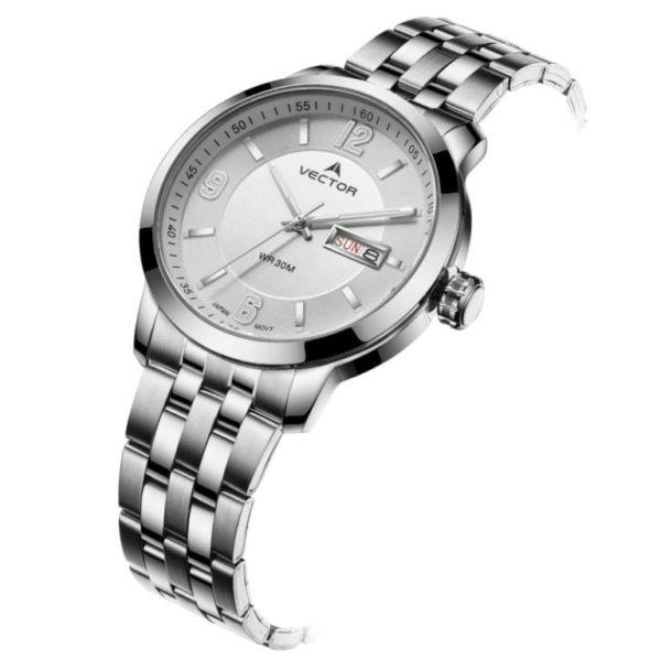 Наручные часы со стальной цепочкой в мужском стиле от VECTOR Classic שעון יד גברי סגנון שלשלאות פלדה מבית VECTOR קלאסי. דגם VC8-059413 steel-1
