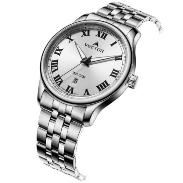 שעון יד מבית VECTOR לבן\כסוף קלאסי יוקרתי. דגם VC8-1014156 white-1 Престижные классические наручные часы VECTOR белого / серебристого цвета