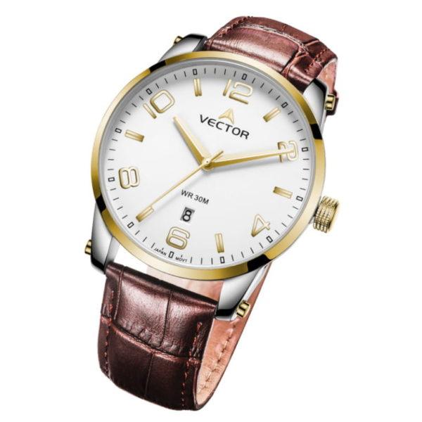 Классические наручные часы VECTOR с коричневыми кожаными ремешками и золотыми стрелками שעון יד קלאסי מבית VECTOR עם רצועות עור חומות ומחוגים זהובים. דגם VC8-1035626 white-1