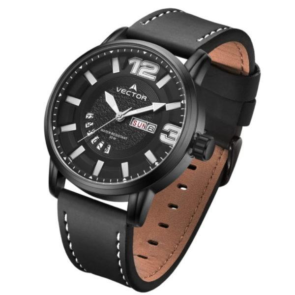 שעון יד איכותי מבית VECTOR בעל רצועות עור שחורות ומכוונים בהירים. דגם VC8-105513 black-1 Качественные наручные часы от VECTOR с черными кожаными ремешками и световыми тюнерами.