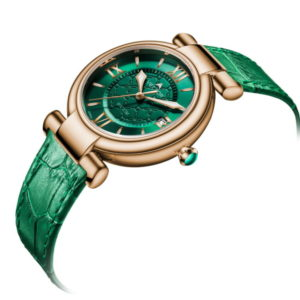 שעון יד קלאסי-מודרני עם רצועות עור ירוק מבית VECTOR. דגם VC9-0025852-1 Классические современные наручные часы с зелеными кожаными ремешками от VECTOR