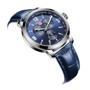 שעון יד כחול מבית VECTOR גברי מודרן-קלאסי. דגם VH8-019513 blue-1 Синие наручные часы от VECTOR, мужской современной классики