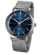 שעון יד עם רצועות סריגת מתכת סטיינלס כסופות ורקע כחול עמוק. שעון גברי אלגנט. מותג VECTOR בדגם V8-108413 blue Престижные наручные часы от Golf Watches. Бренд vector для роскошных наручных часов в Израиле