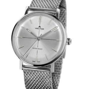 שעון יד עם רצועות סריגת מתכת סטיינלס כסוף. מותג VECTOR בדגם V8-108413 silver Престижные наручные часы от Golf Watches. Бренд vector для роскошных наручных часов в Израиле